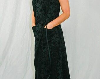 Kimono Dress, Wrap-around Dress, Black velveteen with black rose pattern,