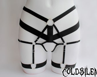 Body harness cage panties open crotch adjustable fetish burlesque goth fashion elastic gift for her