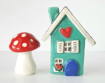 Mint Color Little Clay House | Mint colored with teal green Door | Ceramic Fairy House Gnome Home | Whimsical Terrarium Decoration