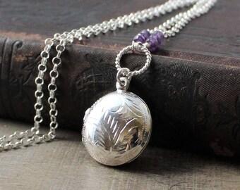 Amethyst Locket, Round Locket Necklace, February Birthstone Locket, Sterling Silver Locket Pendant, Push Present, Engraved Locket Pendant