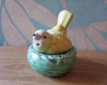 Vintage ceramic yellow bird/chick in nest salt & pepper duo