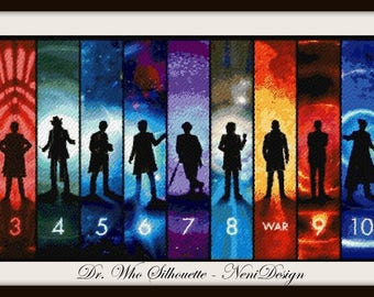 Dr. Who Silhouette - cross stitch Dr. Who - cross stitch pattern - cross stitch silhouette - cross stitch  - PDF pattern - instant download!