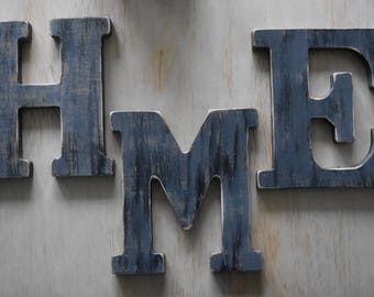 """8"""" HME wooden letter Shabby chic rustic letter Personalized wooden letter Distressed wooden letter"""