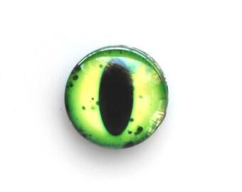 18mm handmade glass eye cabochon - green cat or dragon eye - standard profile