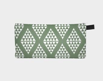 Green Pencil Case with Diamond Shape Pattern, Zipper Pencil Pouch, Travel Pouch, Teacher Gift, Small Organizer Bag, Stocking Filler