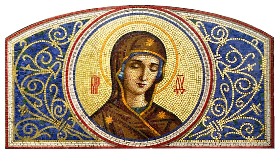Mosaic icon Blessed Virgin Mary Orthodox icon Blessed Mother