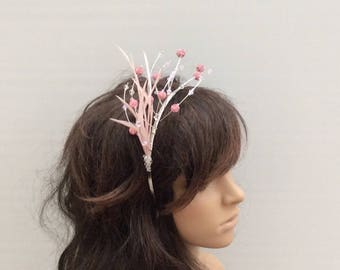Pink Shamballa Bead & Swarovski Crystal Fascinator/ Headpiece