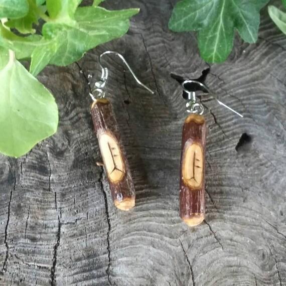 Rowan Birth Tree Earrings, Rowan Ogham Earrings, Amulet Earrings, Rowan Wood Earrings, Ogham Earrings, Ogham, Rowan, Rowan Jewellery
