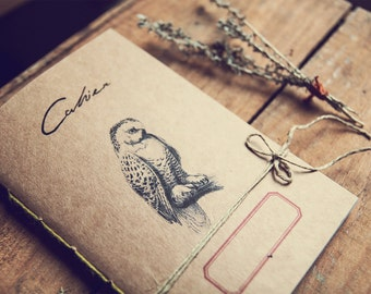 Notebook owl, recycled paper journal, woodland animals diary