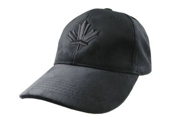 Canadian Black Maple Leaf 3D Puff Embroidery on a Silky Soft Black Velvet Structured Adjustable Fashion Baseball Cap Dad Hat Style Canada