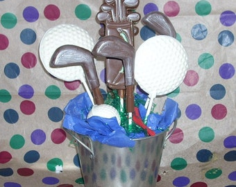 12 Chocolate Golf Lollipops bag, ball, club