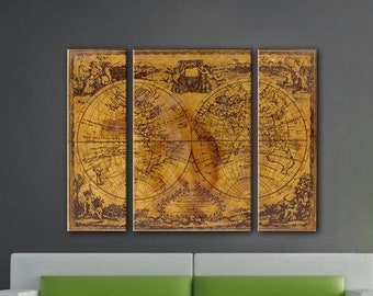 Wall art map,Canvas Map of the World, Map Canvas Print, Medieval map, World Map on Canvas, Canvas large map