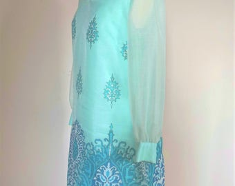 1970s 70s Alfred Shaheen Hawaiian Blue Dress
