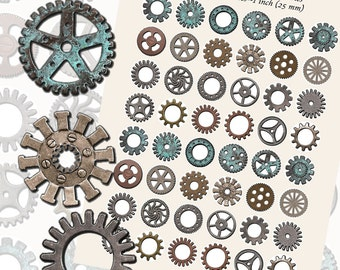 Gears, Gears, Gears-- Gear Printables, ONE INCH CIRCLES (25 mm), with 1/2 inch (13mm) and 3/4 inch(20mm) circles also included