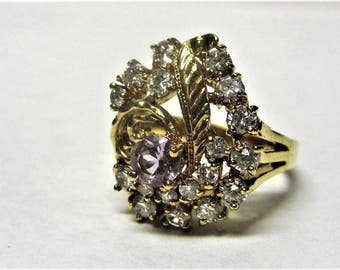 Lind Amethyst Crystal Ring 1980s Rhinestone Cluster Ring Lind Size 10/11 Gold Electroplate Ring