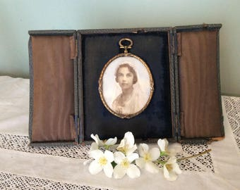 Brass Framed Picture of an early 20th C Bride.