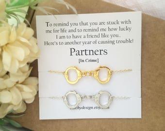 best friend gift set of 2 partners in crime braceletshandcuff bracelet