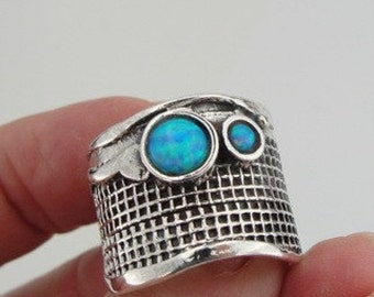 Hadar Jewelry Handcrafted Sterling Silver Opal Ring size 8.5 (H 125)
