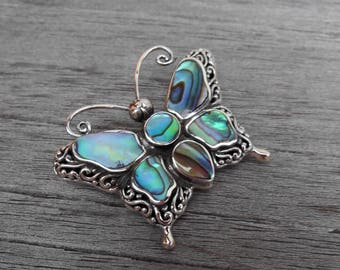 Silver sterling  Butterfly Brooch iridescent Abalone shells  / Bali  jewelry / silver 925