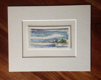Maine Art - Handmade - One Summer - Original Acrylic & Ink on Board - Matted