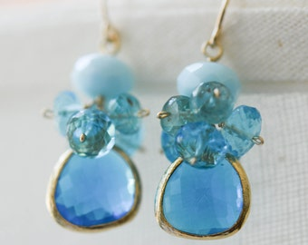 Royal, Aqua, Sky Blue Quartz Clusters, Apatite, Glass Gold Bevel, 14K Gold Fill French Ear Wire Earrings, Adriatic