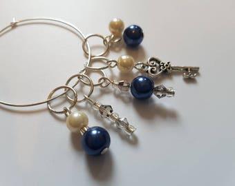 Glass pearl key stitchmarkers