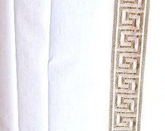 Gold and White Greek Key trim curtain - different colors available