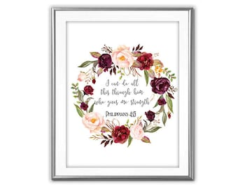 SALE-I Can Do All This -Digital Print-Wall Art-Digital Designs- Quote Printable- Art Prints- Flower Wreath Art-Inspirational Quote