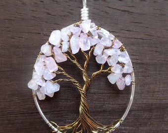 "Rose Quartz Tree of Life Necklace ""Love In Bloom"" Pink Cherry, Pastel Pink, Love, Gift for Her"