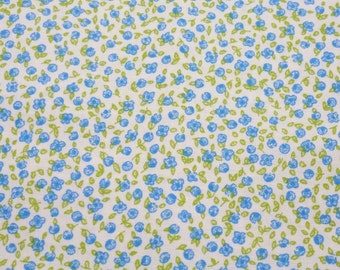 Cotton Floral Fabric -  blue Floral Flowers Cotton Cloth Fabric 1 x 1,60 m (39,37x63 inch)
