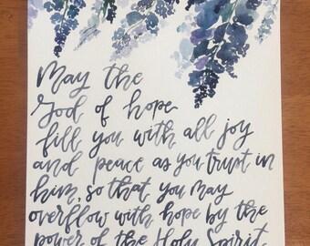 Romans 15:13 9x12 Watercolor