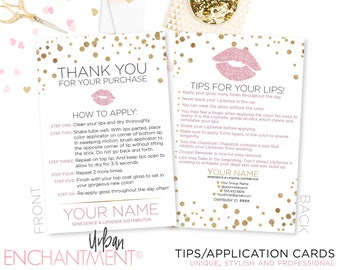 LipSense Application Card -- White Confetti -- Thank You Card - Tips and Tricks - Tips/Tricks - Instructions - SeneGence - Business Card