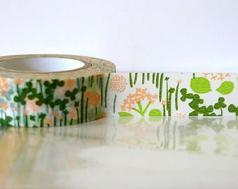 Japanese Washi Tape - Little Garden GREEN and PEACH flower floral party decoration gift wrap 15mm