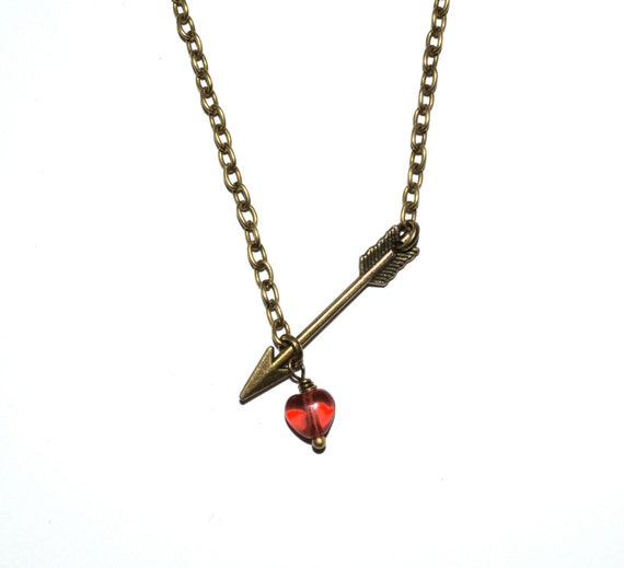 Arrow Necklace, Red Love Heart, Cupid's Arrow, Simple Necklace, Arrow Pendant, Bronze Arrow, Everyday Jewellery, Love Heart, Heart and Arrow