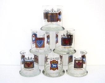 Vintage Pub Glasses, Set of 6, The White Horse Cellar