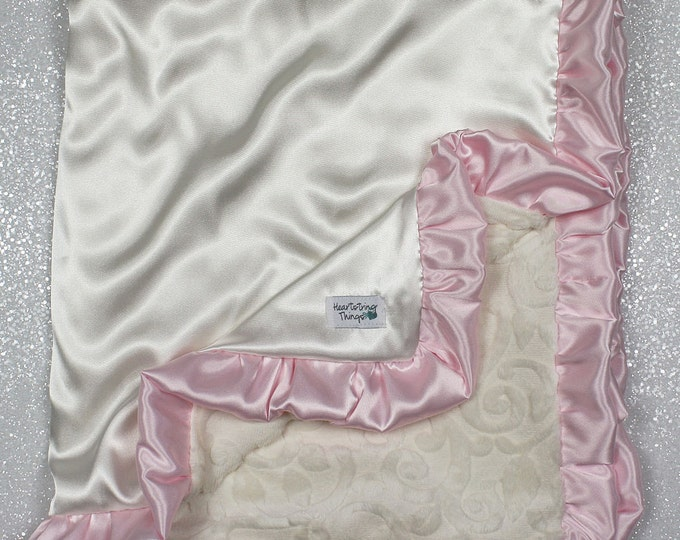 Minky Blanket, Blanket for Woman, Baby girl, Elegant Blanket, Adult Blanket, Cream Blanket, pink and cream, Satin blanket, silk, vine minky