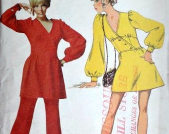 Vintage 60's Butterick 5509 Mary Quant Sewing Pattern, Misses One-Piece Dress & Pants, Size 10, 32.5 Bust, Retro Mod 1960's Designer Fashion