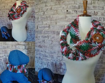 Mrs.Claus scarf and matching pet scarf