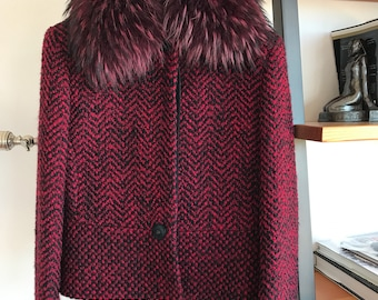 NOS Exceptional 90s VTG Gianni Versace Couture Red Wool Mohair Jacket, Versace Hanger, Medusa Head Buttons, New NOS Vintage Versace Clothing