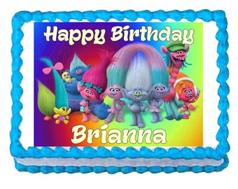 Trolls party edible cake image cake topper frosting sheet