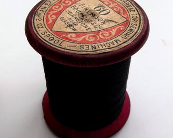Vintage Chunky Wooden Reel of Black Linen Sewing Thread - Craft Supplies