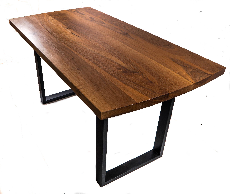 table noyer bureau de noyer noir massif avec pieds en acier. Black Bedroom Furniture Sets. Home Design Ideas