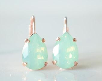 Mint Teardrop Earrings - Mint Crystal Earrings - Mint Green Drop Earings - Green Teardrop Earrings