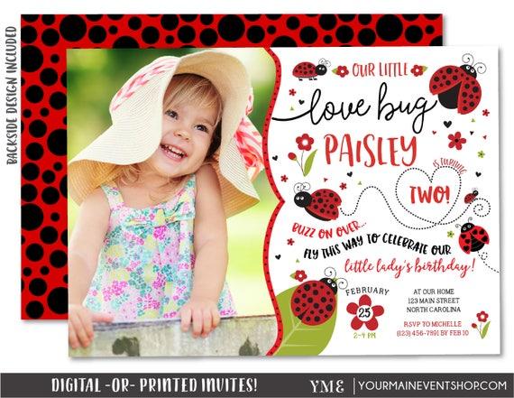 Ladybug Invitation, Ladybug Photo Birthday Invitation, Ladybug Party Invite, Lady Bug Love Bug Invitation, Spring Summer Birthday Printable