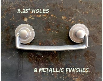 Drawer PULL Silver Metallic SOLID Up-Cycled Furniture Handle
