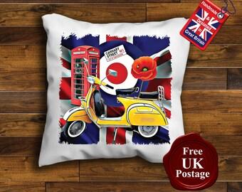 Vespa Scooter Cushion Cover, Vespa Scooter, Union Jack, Mod, Target, Poppy,