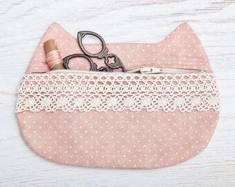 Bolsa de maquillaje gato con encaje, bolso cosmético rosa, Linda caja de lápiz, bolsa de gato, lunares bolsa de viaje, regalo de la Dama de honor