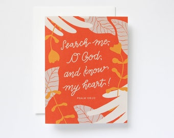 Psalm 139:23 Handlettered Encouragement Greeting Card