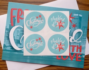 chicago stickers (set of 4) // windy city stickers // chi town