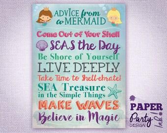 Mermaid Poster Gift For Teen Girl Ocean Dreams Salt Air